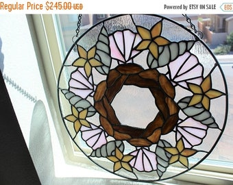FLASH SALE STAINED Glass Window-Seashell Mandala Wreath, Seashell Decor, Nautical Home Decor, Beach Decor, Large Round Stained Glass Window