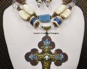 Cowgirl Western Cross Necklace Set - Blue  White Necklace - Statement Necklace - Cross Pendant Necklace - Chunky Necklace - BLUE HEAVEN