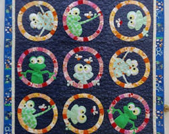 "Frogface Applique Quilt (60"" x 60"") Pattern by Claire Turpin Design"