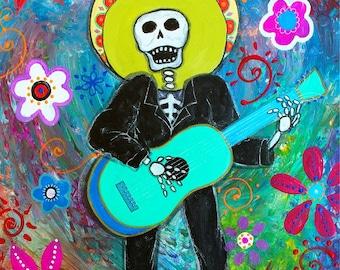 Folk Art Pristine Day of the Dead  Mariachi Guitar Musico Prisarts Original Painting 11 X 14