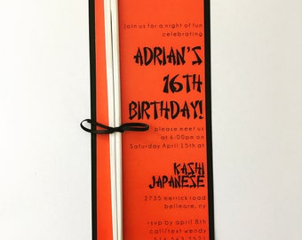 HIBACHI themed invitation