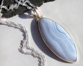 Blue Skies -  Blue Lace Agate Sterling Silver Necklace