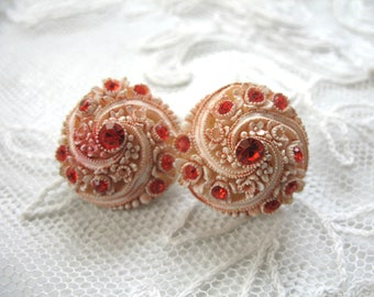 Vintage Carved Celluloid  & Rhinestone Earrings ~ Clip On ~ Pink w/ Red Stones