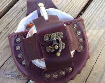 Steampunk Leather Tea Cup Holster Set