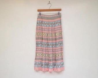 SALE Vintage 1980s Gorgeous Pastel High Waisted Pleated Cherub and Window Print Skirt