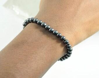 6mm, Hematite, Mala, Stretchy, Bracelet, Gunmetal, Stretch, Jewelry