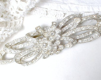 Antique Art Nouveau Sash Brooch OR HaiR COMB, 1920's Art Deco Silver Rhinestone Bridal Gown Accessory/Vintage Wedding Hairpiece Pave Crystal