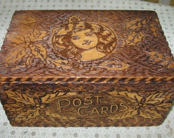 Antique Pyrography Girl Portrait Flemish Art Wood Burn POST CARDS Wooden Box Holder