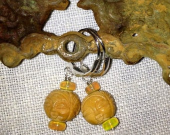 SALE Smiling buddha face asian charm earrings with opals