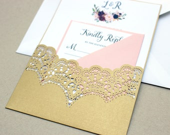 Gold wedding invite Etsy