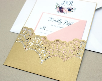 laser cut wedding invitations gold laser cut invites gold wedding invite marsala and - Wedding Invitations Gold