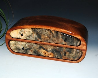 Handmade Men's Wood Jewelry Box or Valet Box - Buckeye Burl on Mahogany - Large Wooden Jewelry Boxes - Large Wood Jewelry Box - Wooden Box