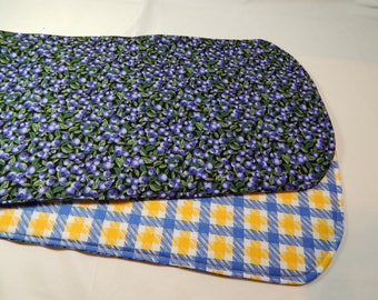 Blueberry Table Runner,  Blueberries, Blue Table Mat, Kitchen Runner, Reversible Runner