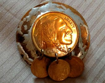 Vintage Pair Indian Head Coin Post Earrings Boho Mid Western