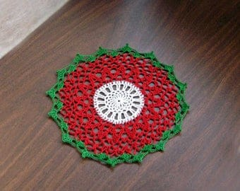 Christmas Cheer Crochet Lace Doily, Table Decor, Holiday Decoration, Red, Green, White, New Christmas Doily, Festive Home Decor