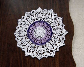 Spring Violet Decor Crochet Lace Doily, Purple and White, 9 Inch Doily, New Home Decor, Easter Decoration