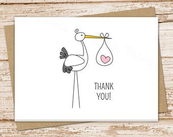 PRINTABLE stork baby girl thank you cards . baby girl stationery . folded note cards . notecards . pink heart  . You Print