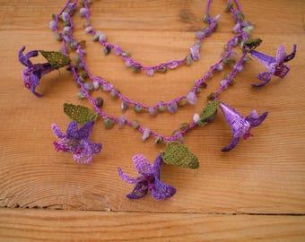 purple flower necklace, turkish crochet, oya