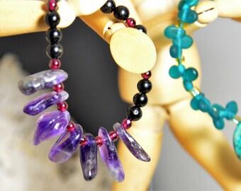 Purple Amethyst Stretch Bracelet, Black Tourmaline, Red Garnet Healing Crystals Women