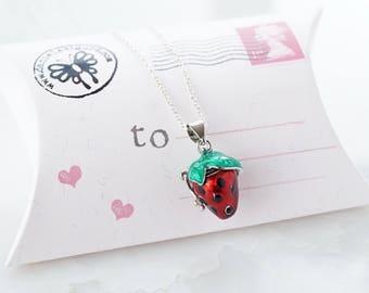 Locket pendant ,strawberry necklace,prayer box locket