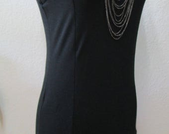 This is a black color trending ruffled stretch tank dress with black stitching decoration plus made in USA (vn60)