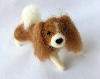 Needle Felted Tan and White Cavalier King Charles Spaniel Dog