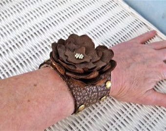Leather stud bracelet, leather flower bracelet, brown leather wrist wrap, rocker bracelet, bohemian jewelry, festival cuff, leather cuff