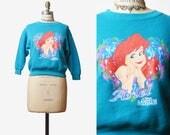 Vintage 90s Ariel The Little Mermaid Sweatshirt Cropped Sweater 1990s Tee Graphic T shirt 3/4 Sleeve Retro Tee Pullover Shirt Disney xs