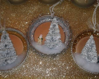 Vintage Style Victorian Mason Jar Lid Christmas Ornaments Set of 3