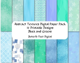 Digital Texture Paper Pack, Blues and Greens, 14 Printable Designs, Abstract Art, Scrapbooking, Card Making, Instant Download