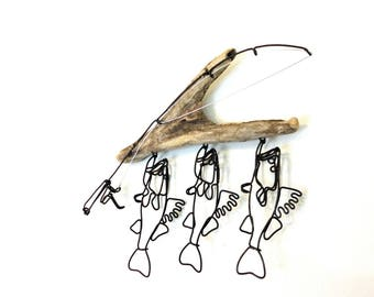 Walleye Stringer and Fishing Rod Wire Sculpture, Walleye Wire Art, Minimal Wire Sculpture,