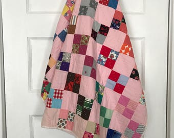 Vintage Crib Quilt Pink Baby Quilt Patchwork Squares Quilt Nursery Quilt