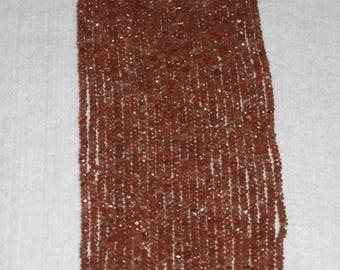 Sunstone, Sunstone Rondelle, Faceted Rondelle, Grade AA, Semi Precious, Gemstone Bead, Translucent, Sparkle, Spacer, Full Strand, 4mm