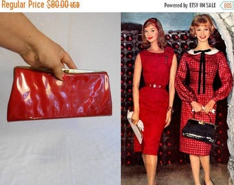 WW2 ENDS SALE With a Cherry On Top - Vintage 1950s Ruby Red Vinyl Faux Patent Leather Convertible Handbag/Clutch