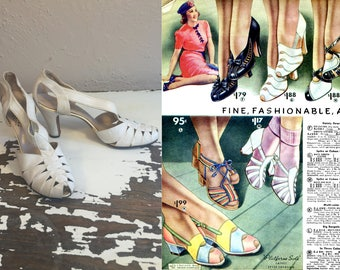 Her Overture Was Jovial - Vintage 1930s White Soft Leather Strappy Pumps Heels Shoes - 8