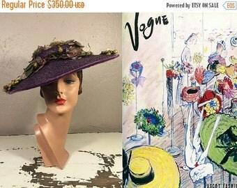 Anniversary Sale 35% Off Ascot Fashion - Vintage 1930s Plum Purple Straw Wide Brim Hat Portrait Hat w/Massive Floral Arrangement