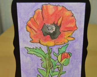 Original ACEO Watercolor Painting - Red Poppy Flower Watercolor Art