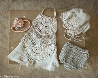 Newborn Props, Prop Top, Headband, Bonnet and Pant Set, Baby Props, Baby Girl Lace Dress, Cream Dress ,RTS, Natural Props, Baby RTS, Vintage