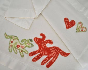 Organic Puppy Baby Blanket -- Red -- Free Personalization