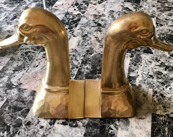 Vintage Extra Large Brass Duck Bookends, Pair of Bookends, Set of 2, Made in Spain