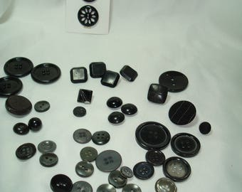 Vintage Square Round Shank Glass Black Buttons.