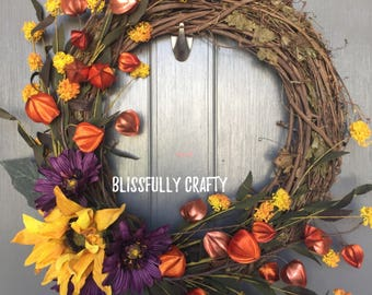 Fall wreath, sunflower wreath, grapevine wreath, fall grapevine wreath, autumn door wreath, door wreath, fall decor, fall door wreath