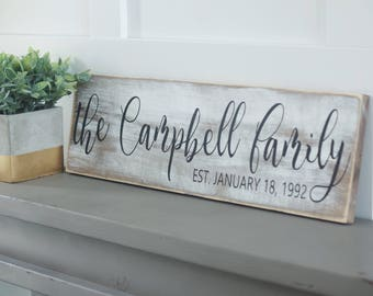 Name sign, name plaque, whitewashed name sign, est sign, family name sign, last name plaque, distressed sign, sign, rustic sign, farmhouse