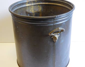 Vintage brass Planter Ram head horn hardware handles Hammered metal Aged patina pot container