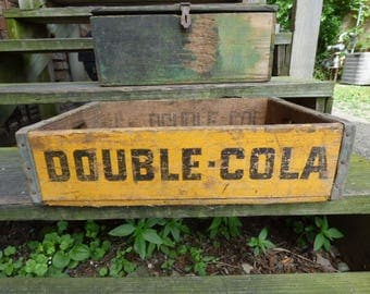 "Vintage Crate ""Double Cola"" Yellow Soda Pop Wood box rustic Primitive Storage box stacking advertising"