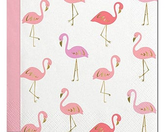 Flamingo Gold Foil and Pink Beverage Napkins pack of 20