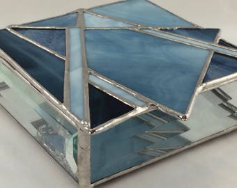 Blue Hand Crafted Stained Glass Jewelry Box with Abstract Star of David