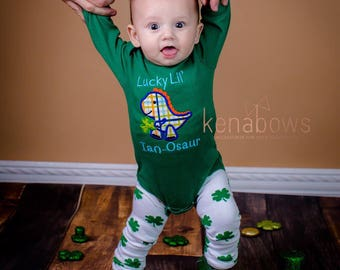 My 1st St. Patrick's Day Outfit, Lucky Little Dinosaur, St. Patty's Day, Personalized, Shamrocks, Baby Boy, Green, March Baby, Clover Legs