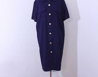 Vintage Oleg Cassini Shift Dress in Dense Navy Blue Size 12