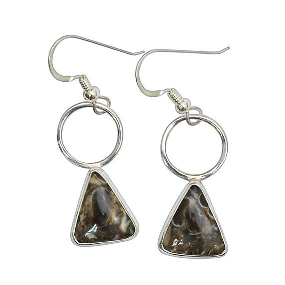 Fossil Earrings, Turritella Agate Dangle Earrings Set in Sterling Silver  etrte2959